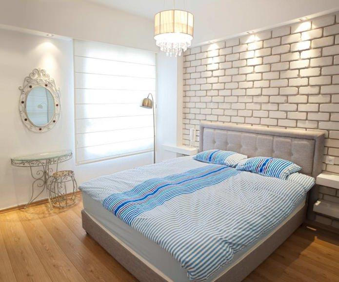 обои под кирпич в интерьере спальни
