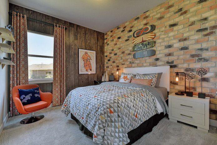 Дизайн спальни с обоями под кирпич