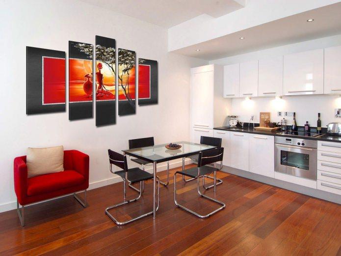 современная модульная картина в интерьере кухни