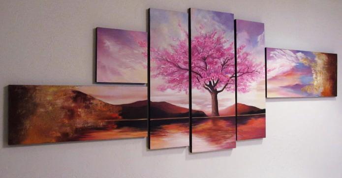 Современная модульная картина с изображением дерева