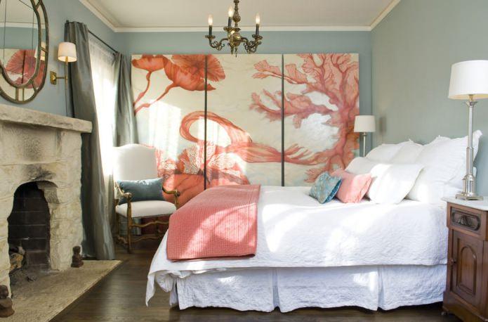 модульная картина в дизайне спальни