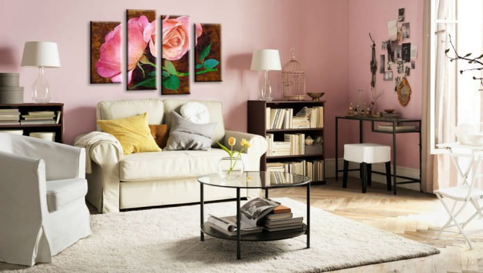 модульная картина в дизайне гостиной