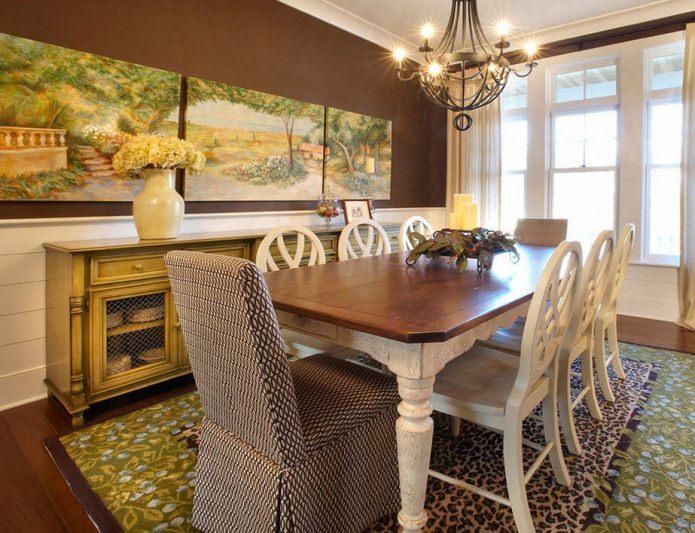 сочетание зеленого и коричневого цвета в интерьере столовой