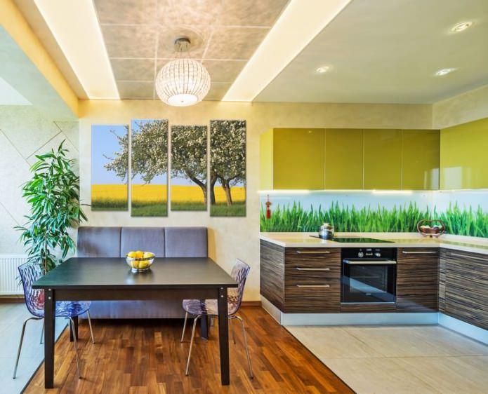 современная модульная картина в интерьере квартиры