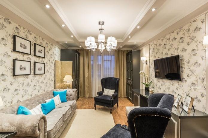 Светло-коричневый цвет в интерьере гостиной