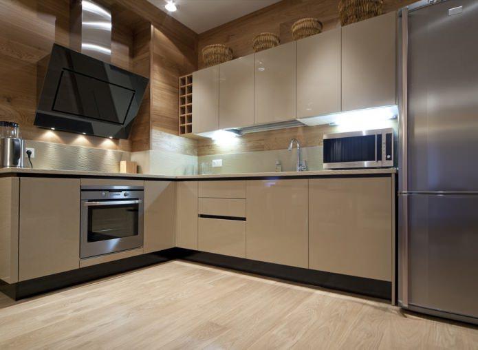 Светло-коричневый цвет в интерьере кухни