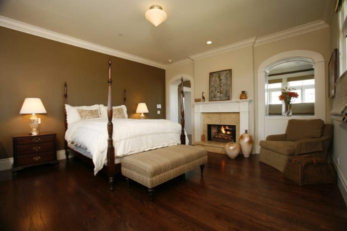 сочетание коричневого и бежевого цвета в интерьере спальни