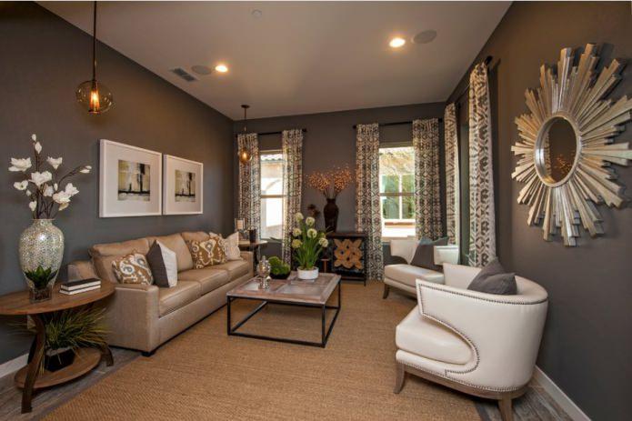 сочетание коричневого и серого цвета в интерьере гостиной