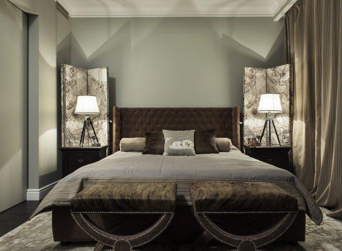Серо-коричневый цвет в интерьере спальни
