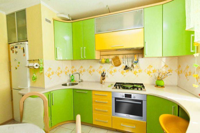 Желто-зеленый цвет в интерьере