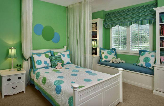 Интерьер в зелено-голубом цвете