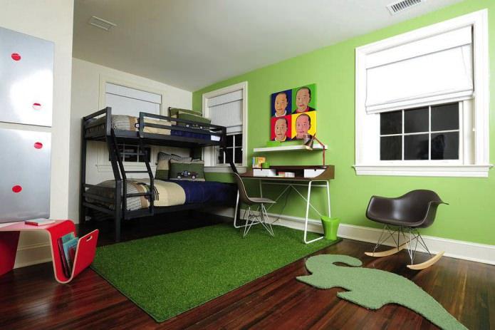 Интерьер детской в зеленом цвете