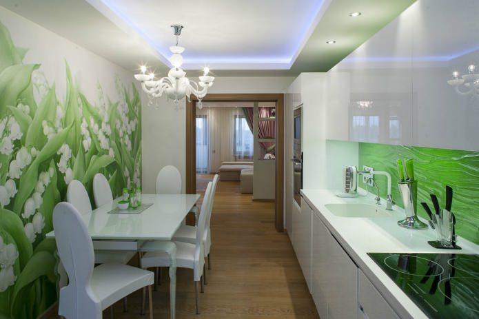 фотообои с зеленью в кухне