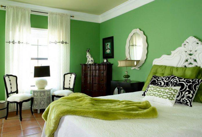 зеленая спальня в тон с текстилем