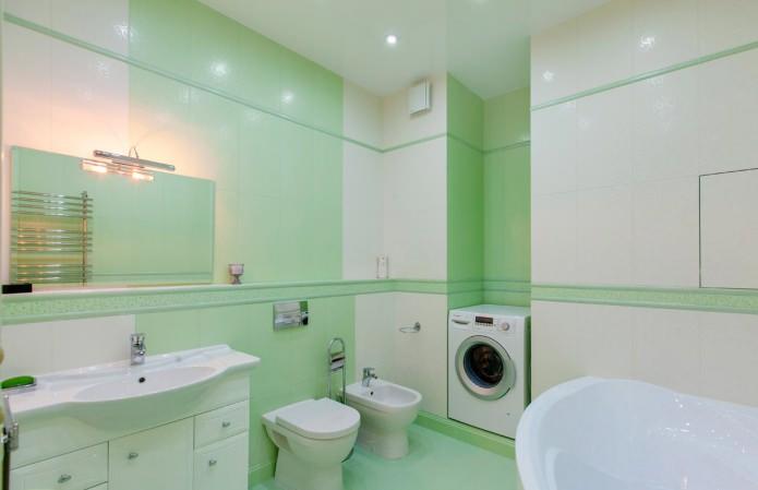 бело-зеленая ванная