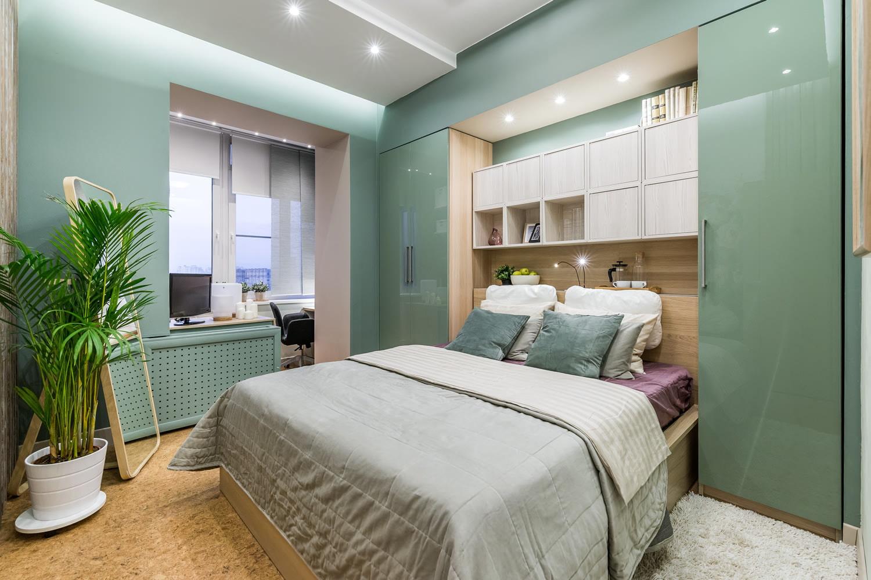 Дизайн интерьер спальни 11 кв.м. с присоединенным балконом (.