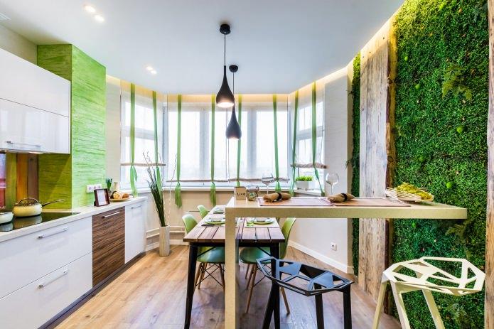 зелень на стене в кухне