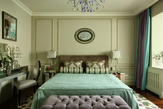 бледно-зеленый на стенах в спальне