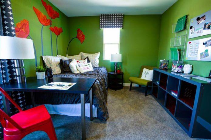 Красно-зеленая комната