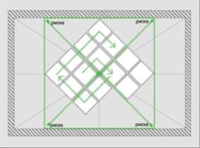 Монтаж плитки на потолок от центра для диагонального способа поклейки