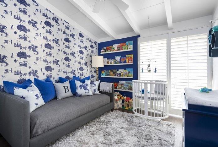 бело-синие обои в детскую комнату для мальчика
