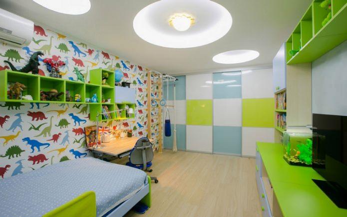 обои с динозаврами в детской комнате для мальчика 3-6 лет