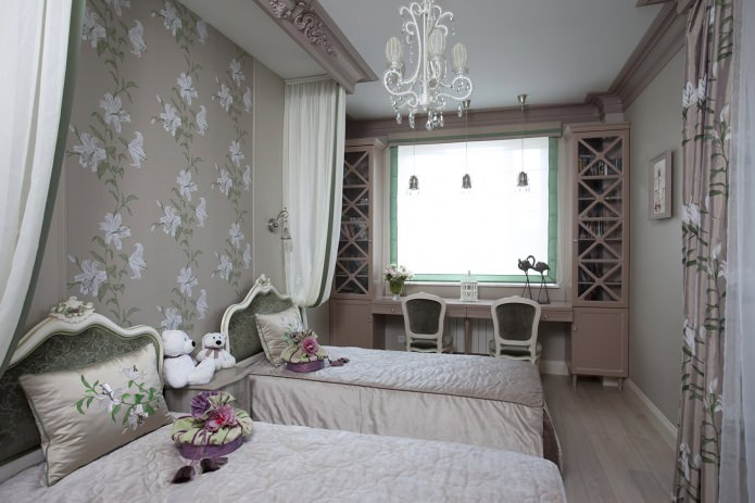 коричневые обои с цветами в детской комнате для девочки