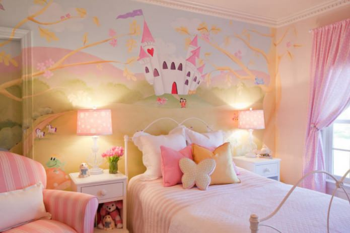 фотообои с сказочным замком в детской комнате для девочки