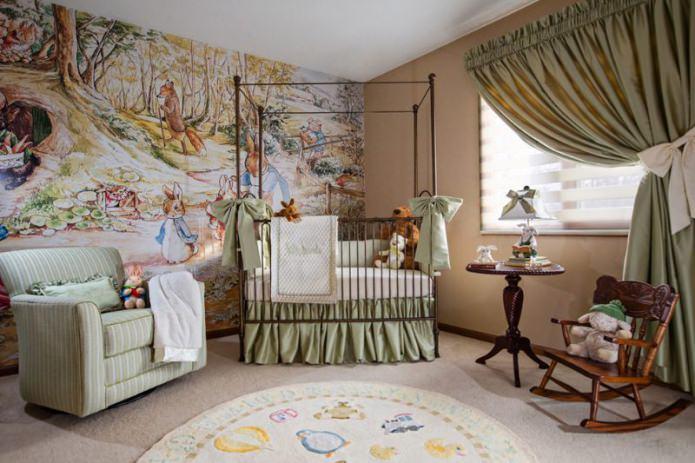 обои в детской комнате для новорожденного