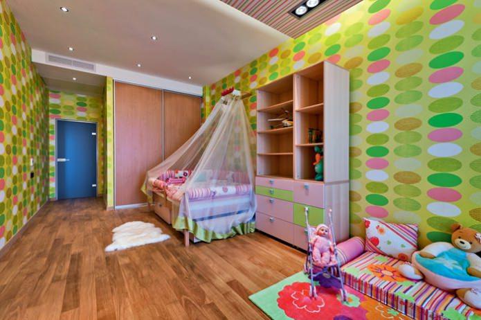 обои в детской комнате для девочки 3-6 лет
