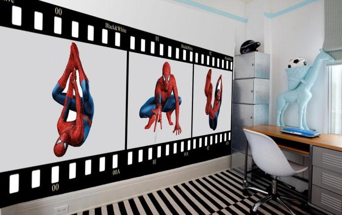 обои с человеком-пауком в детскую комнату для мальчика