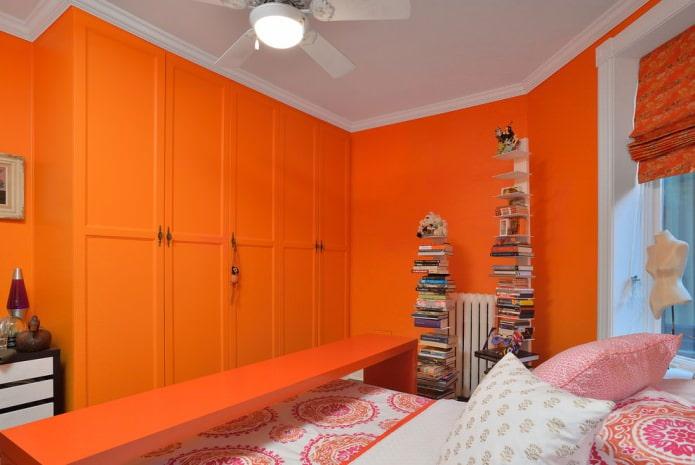 Оранжевая спальня: 55 ярких и позитивных идей, фото в интерьере