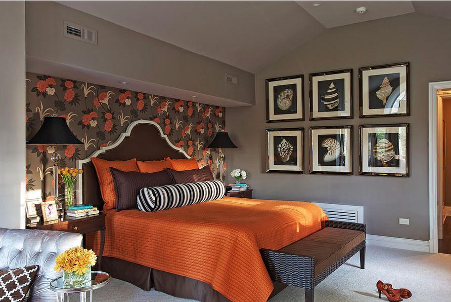 Сочетание с коричневым цветом в интерьере спальни фото
