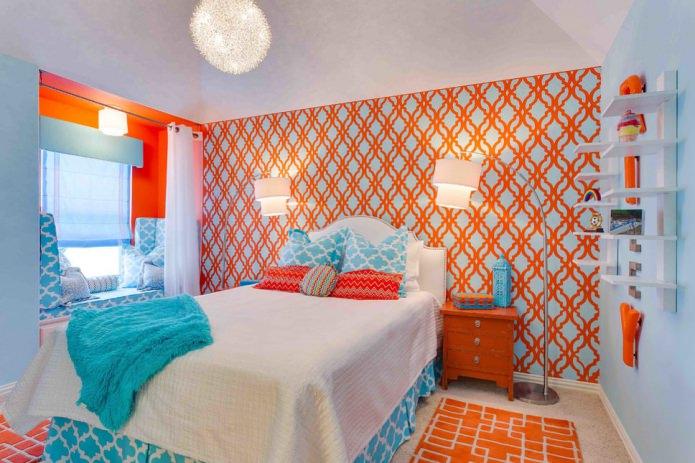 оранжево-голубые стены