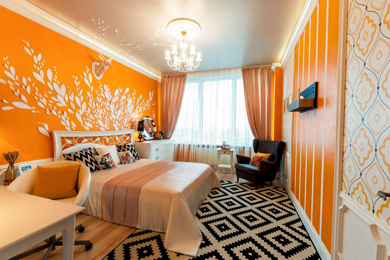 Дизайн оранжевая гостиная