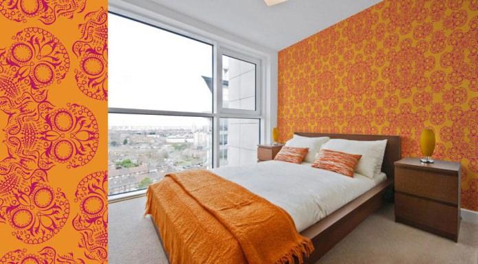 оранжевые обои в современном стиле
