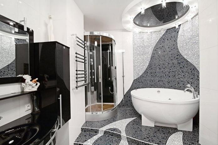 интерьер ванной в черно-белых цветах