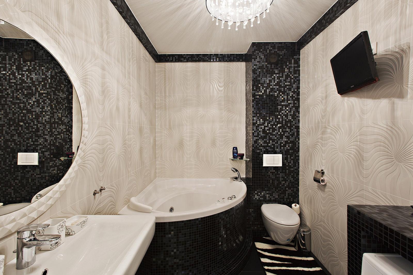 Черный интерьер в ванной 31