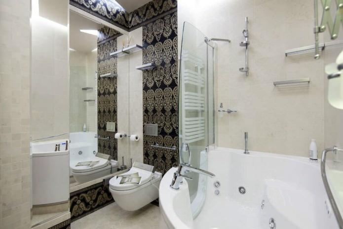 Дизайн угловой ванной в современном стиле