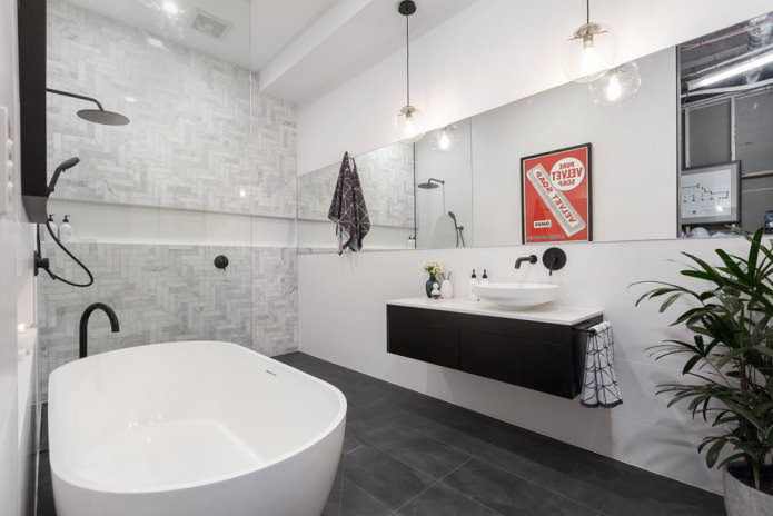 интерьер ванной с подвесной раковиной в современном стиле