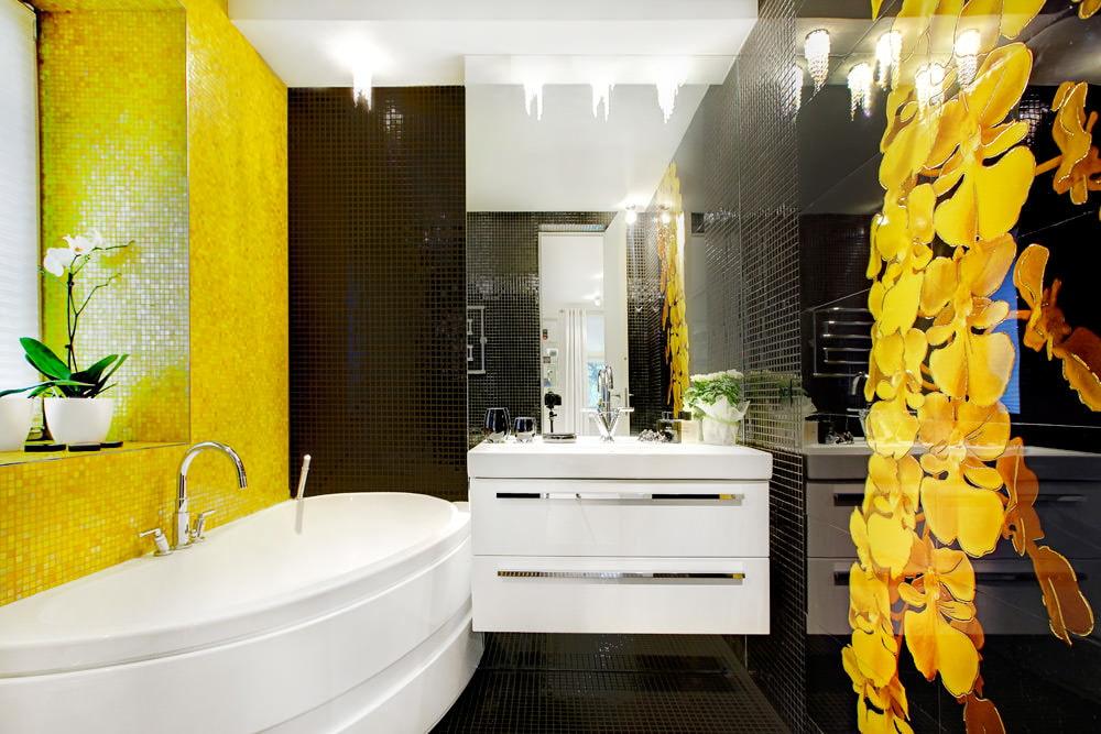 Желтый цвет в дизайне ванной комнаты