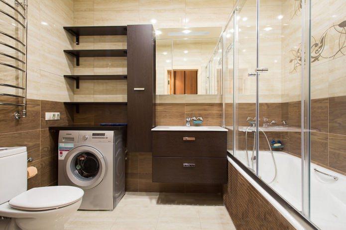 интерьер ванной в современном стиле в бежево-коричневых тонах
