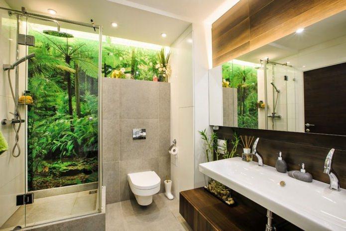 Дизайн ванной с душевой кабинкой в современном эко стиле
