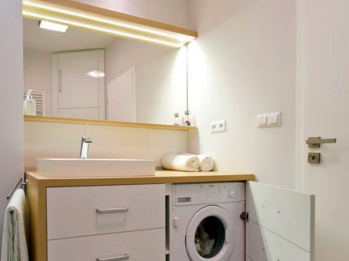 стиральная машинка в ванной в современном стиле