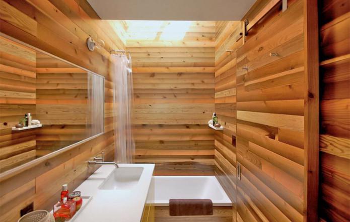 ванная комната в современном стиле с отделкой под дерево