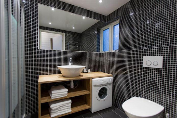 стиральная машина в современном интерьере ванной