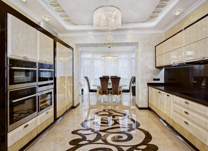 Бежево-коричневый интерьер кухни