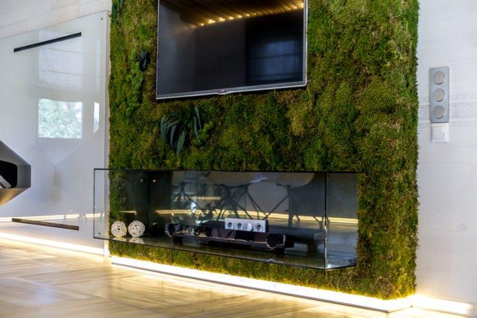 живая зелень в интерьере гостиной в эко-стиле