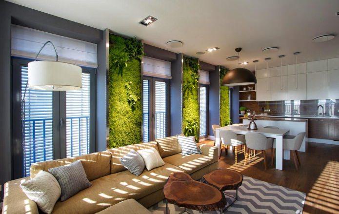 гостиная комната в эко-стиле