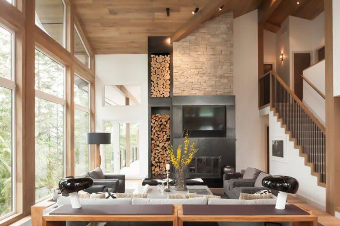 дизайн гостиной в эко-стиле